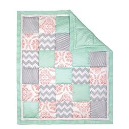 Coral Pink, Grey and Mint Patchwork Crib Quilt by The Peanut