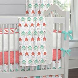 coral teal arrow crib blanket