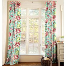 Carousel Designs Coral and Teal Floral Drape Panel 84-Inch L