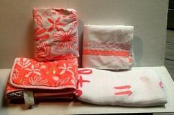 Cloud Island Coral/White Lemonade 4 pc. Baby Blanket & Crib