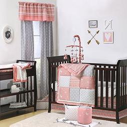 Coral Woodland and Geometric Patchwork 5 Piece Crib Bedding