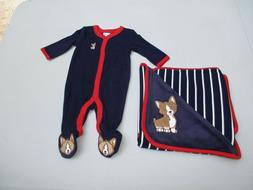 Gymboree Corgi Dog Reversible Baby Blanket & Newborn One-pie