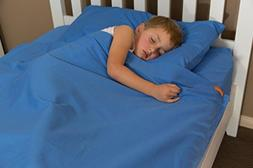 100% Cotton Bright Blue Kids Zip Sheets to Fit a Full Size B