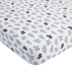 Carter's 100% Cotton Fitted Crib Sheet, Sheep/Clouds, Gray,