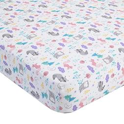 Carter's 100% Cotton Fitted Crib Sheet, Woodland/Forest, Pin