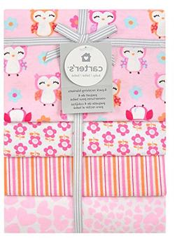 Carter's 4-Pack Cotton Flannel Receiving Blankets, Girly Owl