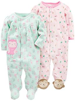 Simple Joys by Carter's Girls Baby 2-Pack Cotton Footed Slee