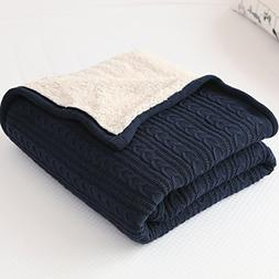 CottonTex Cotton Knitted Blanket Lined with Sherpa Lining Su