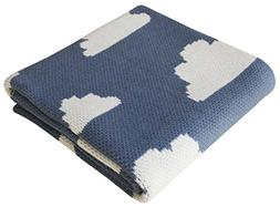 Cotton Knitted Stroller Nursery Baby Blanket, Fluffy Clouds