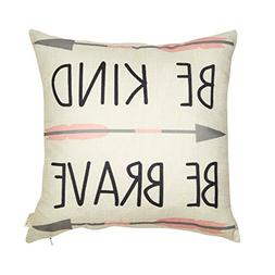 Fjfz Cotton Linen Home Decorative Quote Words Throw Pillow C