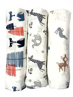 """Cotton Muslin Swaddle Blankets, Set of 3, """"My First Furry Fr"""