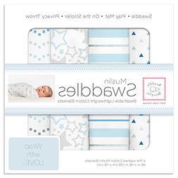 SwaddleDesigns Cotton Muslin Swaddle Blankets, Set of 4, Blu