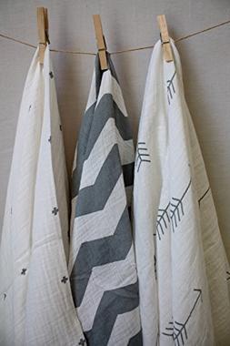 100% Cotton Muslin Swaddle Blankets - 3 pack - Gender Neutra