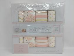 SwaddleDesigns Cotton Muslin Swaddle Blankets, Set of 4, Pin