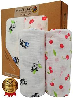 100% Cotton Muslin Swaddle Blankets. Perfect for Your Baby &