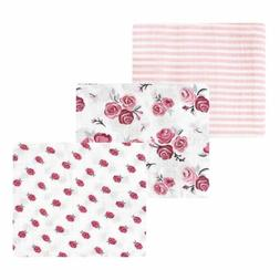 Hudson Baby Cotton Muslin Swaddle Blankets, Rose, One Size