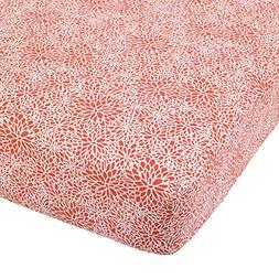 Balboa Baby Cotton Sateen Fitted Crib Sheet, Coral Bloom
