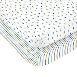 Carter's 100% Cotton Sateen 2 Pack Fitted Crib Sheets, Dino