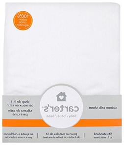 Carter's Cotton Sateen Fitted Crib Sheets - White