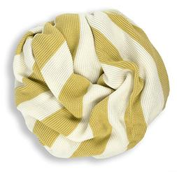 """XL Organic Cotton Stripe Knit Baby and Toddler Blanket 64"""" X"""