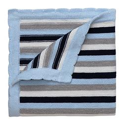 Elegant Baby 100% Cotton Sweater Knit Blanket, Navy Stripes,