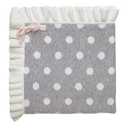 Elegant Baby 100% Cotton Tightly Knit Blanket, Gray Dot, 30""