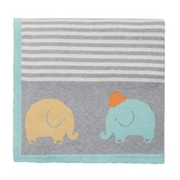 Elegant Baby 100% Cotton Tightly Knit Blanket, Elephant Bord