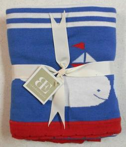 Elegant Baby 100% Cotton Tightly Knit Blanket, Whale Motif,