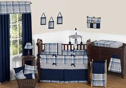 country navy blue grey plaid