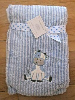 Baby Gear Cow Blanket Blue White Stripe Soft Plush Sherpa 30