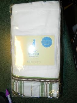 Pottery Barn Kids CRIB Bed Skirt - CHASE - white with green