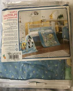 3pc Crib Bedding Set Blanket Crib Skirt Diaper Stacker Baby