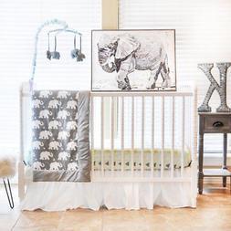 Pam Grace Creations 6 Piece Crib Bedding Set, Grey/Indie Ele