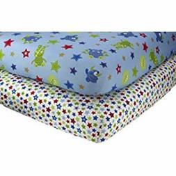 Little Bedding 2 Count Crib Sheet Set, Monster Babies by Lit