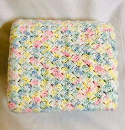 "Handmade Crochet Baby Blanket 44"" X 36"" Unisex Multi-Color"