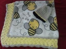 Handmade Crochet Baby Blanket bees,boys,36x36.With cap,ready