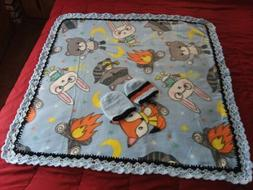 Handmade Crochet Baby Blanket boys fleece 40x40 2 caps,ready