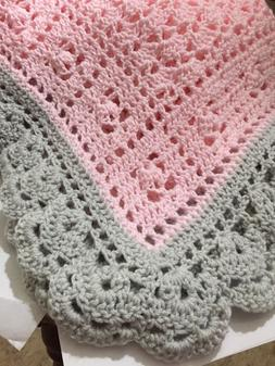 Crochet Baby Blanket Pink And Light Gray With Scalloped Edge