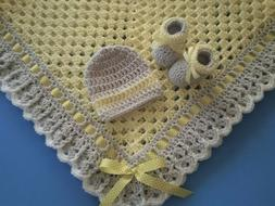 Crochet Baby Blanket Set, Baby Beanie Hat, Baby Booties in Y