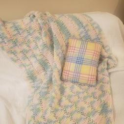 Handmade Crochet Baby Boy Or Girl Blanket Pastel Variegated