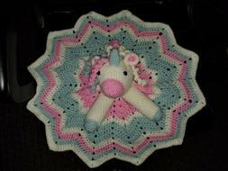 Handmade Crochet Baby Unicorn Security Blanket Cuddle Lovey