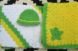 Crochet blanket set-Girls, Baby Girl blanket & hat set,Newbo