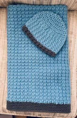 Handmade Crochet Newborn Baby Boy Receiving Blanket & Hat Gi