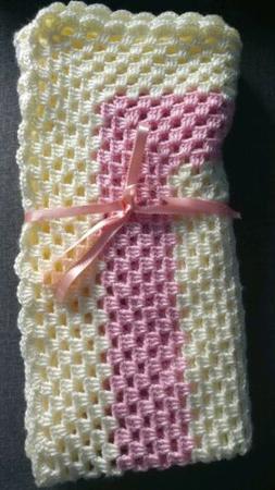 Handmade Crocheted Baby Blanket / Afghan / Car seat/ strolle