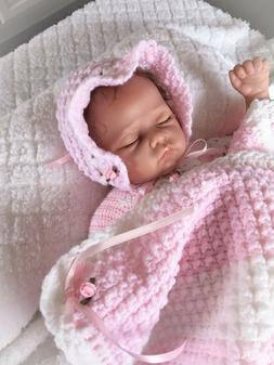 Crocheted Baby Blanket, Bonnet, Booties, Reborn Doll Layette