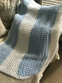 Crocheted Blanket/Throw/Blanket_BABY_BLUE AND WHITE - NEW