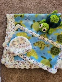 Crocheted trimmed Fleece Baby blanket- Turtle print with ext