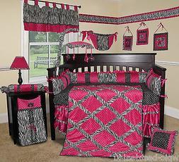 Custom Baby Bedding -Hot Pink Zebra 13 PCS Crib Bedding