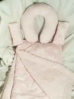 CUSTOM EMBROIDERED BABY Car set*Head pillow,blanket & strap