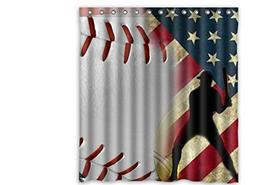"Custom Polyester Shower Curtain 66"" x 72"" Baseball Sports co"
